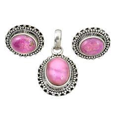 Natural phosphosiderite (hope stone) 925 silver pendant earrings set m25481