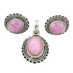 Natural phosphosiderite (hope stone) 925 silver pendant earrings set m25482