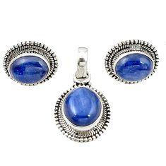 Natural blue kyanite 925 sterling silver pendant earrings set jewelry m25502