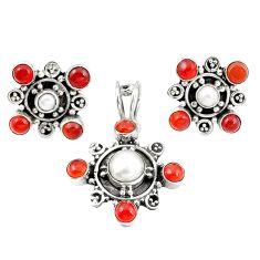 Natural white pearl cornelian (carnelian) 925 silver pendant earrings set m25504