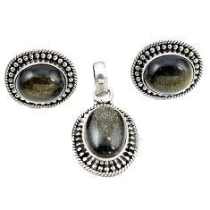 Natural golden sheen black obsidian 925 silver pendant earrings set m25505