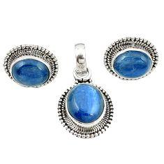 Natural blue kyanite 925 sterling silver pendant earrings set jewelry m25511