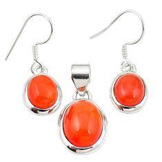 Natural orange cornelian (carnelian) 925 silver pendant earrings set m25517