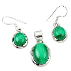 Natural green malachite (pilot's stone) 925 silver pendant earrings set m25584