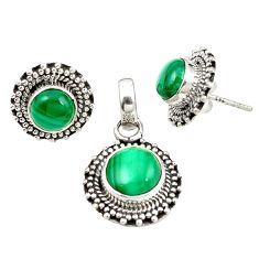 Natural green malachite (pilot's stone) 925 silver pendant earrings set m25596