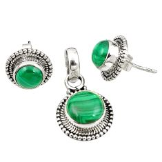 Natural green malachite (pilot's stone) 925 silver pendant earrings set m25598