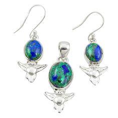 Natural green azurite malachite 925 silver owl pendant earrings set m25621