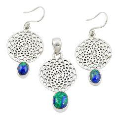 Natural green azurite malachite 925 silver pendant earrings set m25622