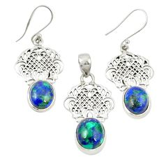 925 silver natural green azurite malachite pendant earrings set m25624