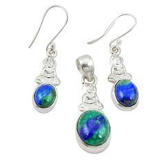 Natural green azurite malachite 925 silver pendant earrings set m25626
