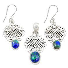 925 silver natural green azurite malachite pendant earrings set jewelry m25630