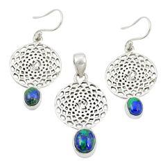 Natural green azurite malachite 925 silver pendant earrings set jewelry m25631