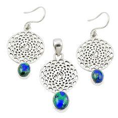 925 silver natural green azurite malachite pendant earrings set jewelry m25633