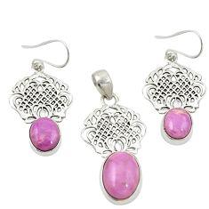 Natural phosphosiderite (hope stone) 925 silver pendant earrings set m25634