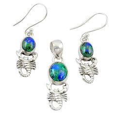 925 silver natural green azurite malachite scorpion pendant earrings set m25635