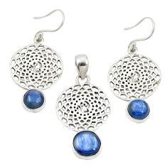 Natural blue kyanite 925 sterling silver pendant earrings set jewelry m25647