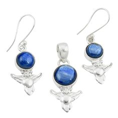 Natural blue kyanite 925 sterling silver owl pendant earrings set m25654