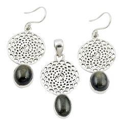 925 silver natural golden sheen black obsidian pendant earrings set m25656