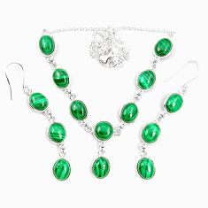 Natural green malachite (pilot's stone) 925 silver earrings necklace set m38114