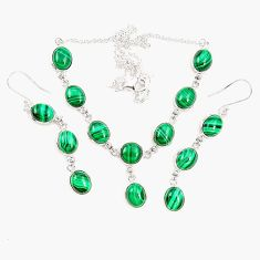 Natural green malachite (pilot's stone) 925 silver earrings necklace set m38116