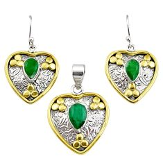 5.52cts victorian natural emerald silver two tone pendant earrings set r12422