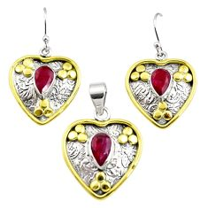 5.62cts victorian natural red ruby silver two tone pendant earrings set r12423