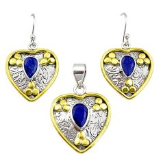 5.62cts victorian natural sapphire silver two tone pendant earrings set r12425