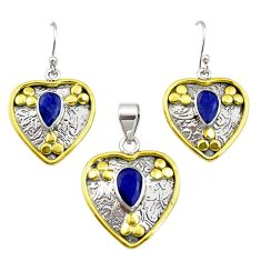 5.61cts victorian natural sapphire silver two tone pendant earrings set r12426