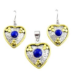 Victorian natural lapis lazuli 925 silver two tone pendant earrings set r12430