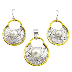 5.35cts victorian natural pearl 925 silver two tone pendant earrings set r12432