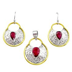 5.23cts victorian natural red ruby silver two tone pendant earrings set r12433