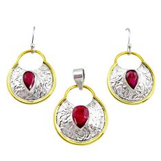 925 silver 5.38cts victorian natural ruby two tone pendant earrings set r12434