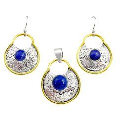 Victorian natural lapis lazuli 925 silver two tone pendant earrings set r12435