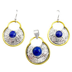 Victorian natural lapis lazuli 925 silver two tone pendant earrings set r12436