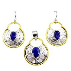 925 silver victorian natural blue sapphire two tone pendant earrings set r12439