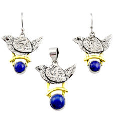 Victorian natural lapis lazuli 925 silver two tone pendant earrings set r12445