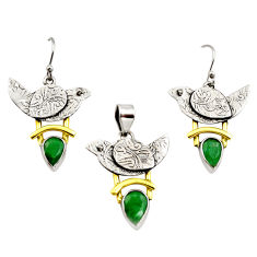 6.31cts victorian natural emerald silver two tone pendant earrings set r12446
