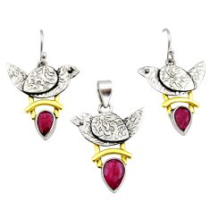 6.48cts victorian natural ruby 925 silver two tone pendant earrings set r12447