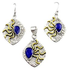 Victorian natural blue sapphire 925 silver two tone pendant earrings set r12448