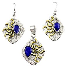 Victorian natural blue sapphire 925 silver two tone pendant earrings set r12449