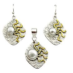 925 silver 5.61cts victorian natural pearl two tone pendant earrings set r12450