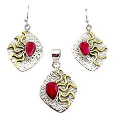 5.52cts victorian natural ruby 925 silver two tone pendant earrings set r12451