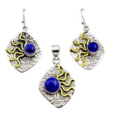 Victorian natural lapis lazuli 925 silver two tone pendant earrings set r12452