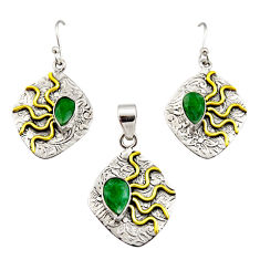 5.52cts victorian natural emerald silver two tone pendant earrings set r12453