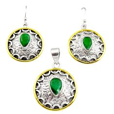 925 silver victorian natural green emerald two tone pendant earrings set r12456