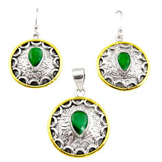 6.31cts victorian natural emerald silver two tone pendant earrings set r12457