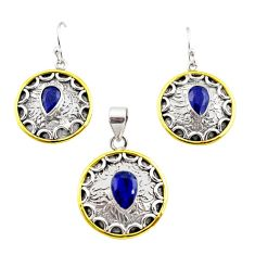 6.31cts victorian natural sapphire silver two tone pendant earrings set r12458