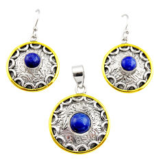 925 silver victorian natural lapis lazuli two tone pendant earrings set r12459