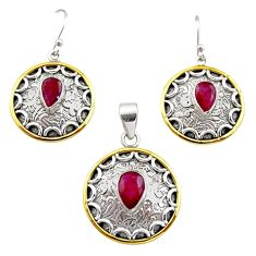 6.22cts victorian natural ruby 925 silver two tone pendant earrings set r12460