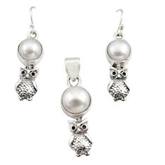 14.77cts natural white pearl 925 sterling silver owl pendant earrings set r12461